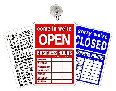 OPEN CLOSED BUSINESS HOURS SIGN Store Window New