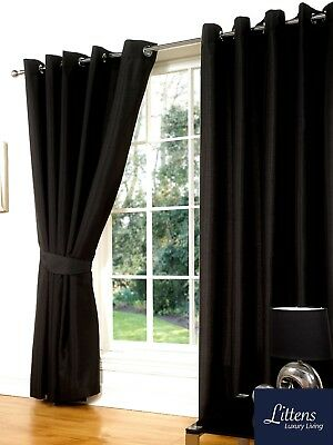 "46"" x 54"" BLACK FAUX SILK CURTAINS EYELET / RING TOP FULLY LINED INC TIEBACKS"
