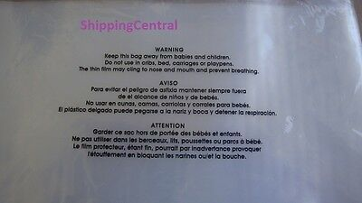 100 2 mil 25 each 6x9 8x10 9x12 11x14 CLEAR Suffocation Warning flat Poly Bags