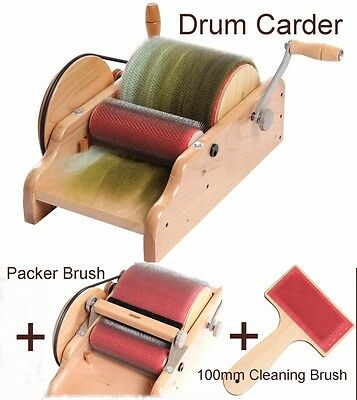 "DRUM CARDER 8"" ASHFORD NZ  for spinning felting carding blending fibre"