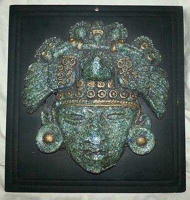 Zarebski Vintage Mexican Aztec Mayan Ancient God Rare Stone  Plaque