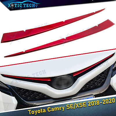 2x For Toyota Camry SE XSE 2018-19 Stainless Red Front Grille Grill Cover Trim s