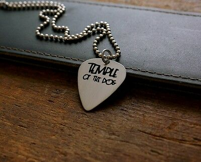 Hand Made Etched Nickel Silver Guitar Pick Necklace - Temple of the Dog