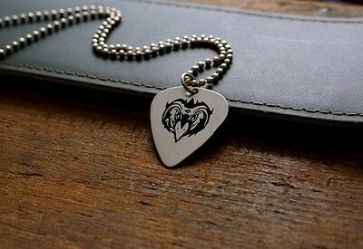 Hand Made Etched Nickel Silver Guitar Pick Necklace - Black Crowes