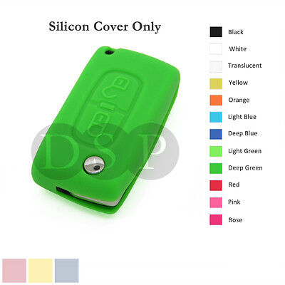 Silicone Cover fit for Peugeot 307 407 207 107 Remote Key Case Fob 2 BTN 12C DG