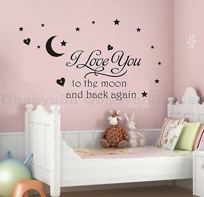I love you to moon Star  Wall quote decals stickers decor kids Nursery Girl art