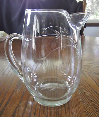 VINTAGE FOSTORIA/WEST VIRGINIA ETCHED ROSE PATTERN PITCHER WITH ICE LIP 1950'S