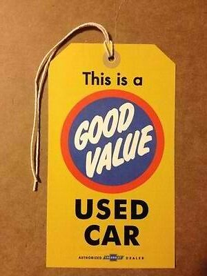 "Vintage Chevy Chevrolet ""Good Value"" Used Car Windshield Warranty Tag Sticker"