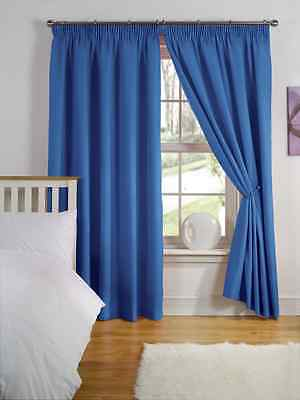 """46"""" x 72"""" BLUE THERMAL BACKED LIGHT REDUCING PAIR CURTAINS 3"""" PENCIL PLEAT TOP"""