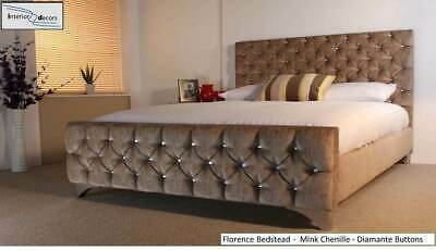 Florence Bed Frame Upholstered Chenille All Colours & Sizes Diamante Buttons