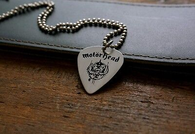 Hand Made Etched Nickel Silver Guitar Pick Necklace - Motorhead