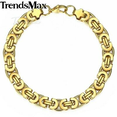 7-11 inch,Gold Stainless Steel Flat Byzantine Link Chain Bracelet For Men