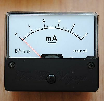 0- 5mA DC Ammeter Amp Panel Meter  Analogue Analog NEW