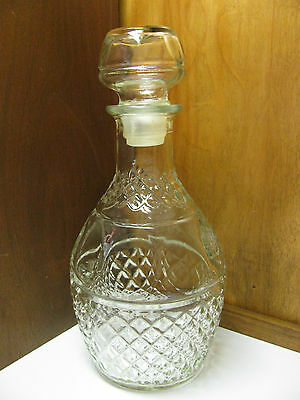 VintageWine/Whiskey DECANTER Cut Glass Etched CROWN Royal GRAPES with STOPPER