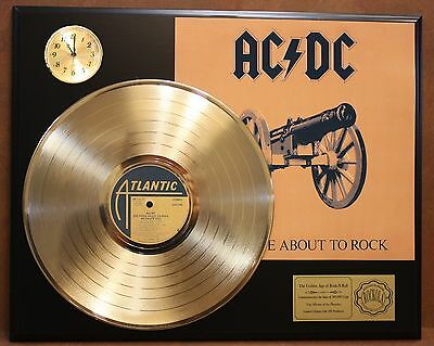 Ac/dc Gold Lp Ltd Edition Record & Clock Display Award Quality Rare Collectible