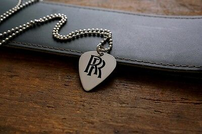 Hand Made Etched Nickel Silver Guitar Pick Necklace - Randy Rhoads - RR