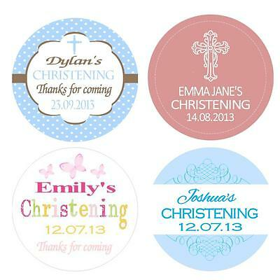 Personalised Christening Baptism Stickers Labels 3 sizes available