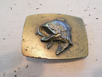 Vintage 1979 Brass Bass Fish The Great American Belt Buckle Company