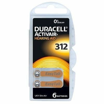 Duracell Activair Mercury Free Hearing Aid Batteries x30 Size 312