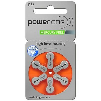 Power One Mercury Free Hearing Aid Batteries x30 Size 13
