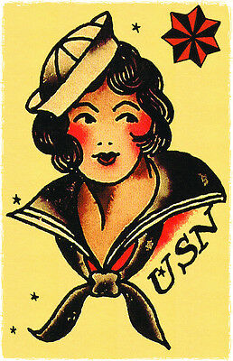 159 USN Navy Pin Up Girl Sailor Jerry Traditional style Flash poster print