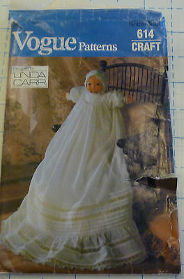 "Vogue 614 By Lo Baby 16"" Doll Christning Gown & Bonnet"