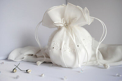 BEAUTIFUL Bridal Drawstring Dolly Bag in IVORY Wedding Bags Bride / Bridesmaid