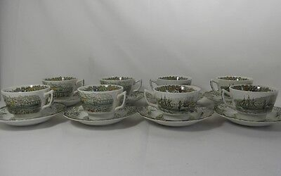 Ridgway Heritage-Green Set of 8 Cups and Saucers