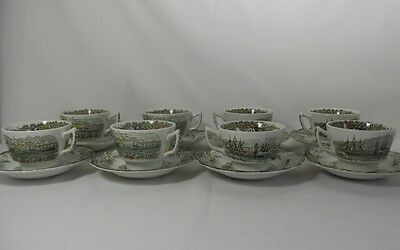 Ridgway Heritage - Green Set of 8 Cups & Saucers