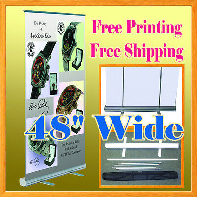 """47"""" Retractable Roll Up Banner Stand FREE GRAPHIC PRINTING 48"""" Aluminum Housing"""