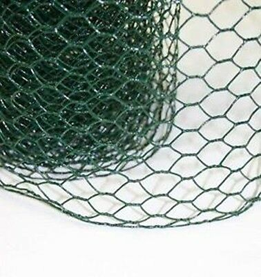50cm tall x 10m long green pvc coated chicken wire mesh garden fence fencing