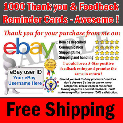 1000 eBay Seller Professional Thank You Business Cards - 5 Star Rating FREE
