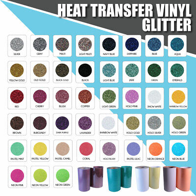 "Heat Transfer Vinyl GLITTER 5 of 20"" X 1Y MIX & MATCH :)"