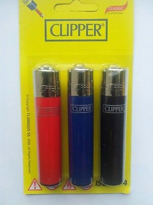 *** 3x Clipper Multi Coloured Refillable Regular Size Sealed Lighters ***