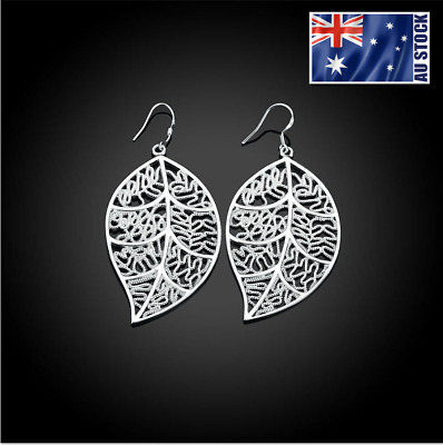 New Wholesale Stunning 925 Sterling Silver Filled Womens Filigree Leaf Earrings