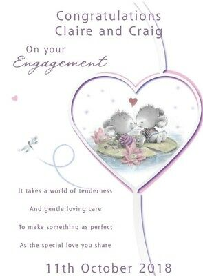 Engagement Cute Love A5 Card Personalised Son Daughter Friends Sister Brother
