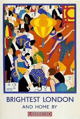 Vintage Brightest London And Home By Underground A4 Poster Print