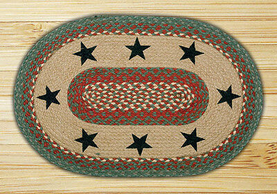 """Green Stars Jute Braided Primitive Country Home Oval Throw Rug 20"""" x 30"""""""
