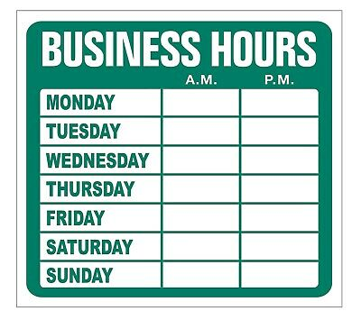 New Open Closed Business Hours Static Cling Sign Window Vinyl Decal Sticker