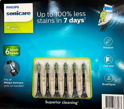 6x Philips Sonicare W Optimal White Electric Toothbrush Replacement Heads Black