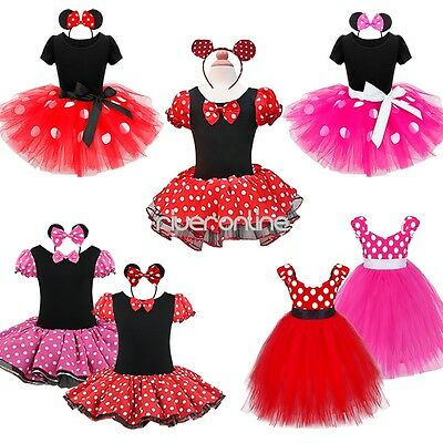 Minie Mouse Kid Girl Birthday Party Halloween Costume Cosplay Ballet Tutu Dress