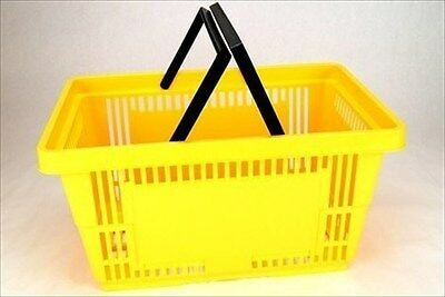 Plastic Grocery Store Shopping Basket- Yellow- Eco / Environmentally Friendly