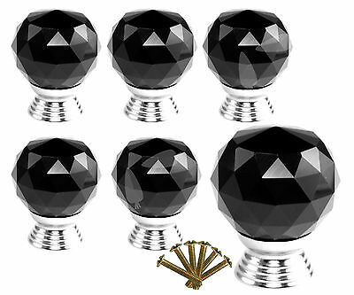 6 X Deluxe Black Crystal Glass Clear Drawer Kitch Door Pull Knobs Handle Set E78