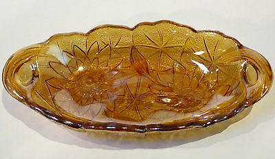 Vintage Lustre Ware Amber Glass Dish