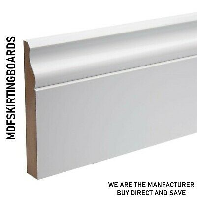 White Primed MDF Skirting Board - 18x119mm Ogee - matching Architrave available