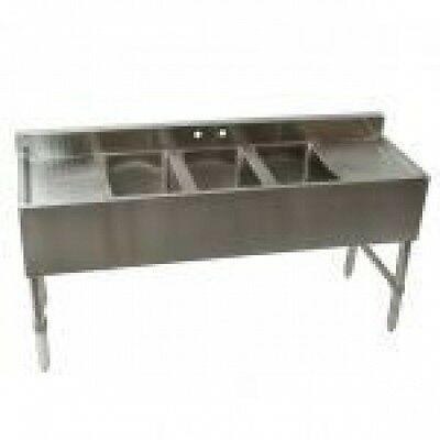 "Kti 60""x19""x29"" Commercial Triple Sink Bar Sink W/ Faucet & Two Drain Board"