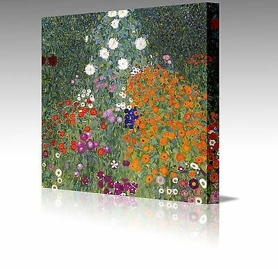 "12x12"" Gustav Klimt Farm Garden Flowers  Framed Canvas Art Picture Print Floral"