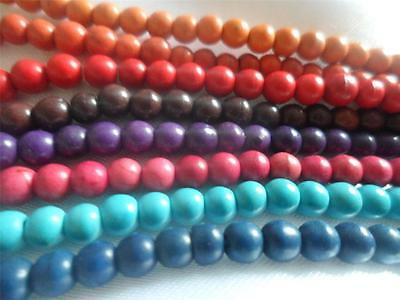 Synthetic Turquoise Beads x 100, Dyed, Round, 4mm, Hole: 1mm