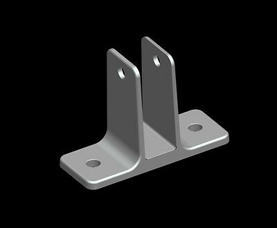 """Cast Stainless Steel Two Ear Bracket for 3/4"""" Toilet Partition Panel"""