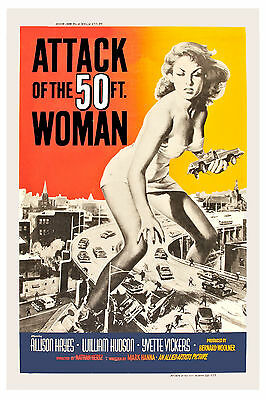 1950's Sci-Fi * Attack of the 50 Ft. Woman *  Movie Poster 1958